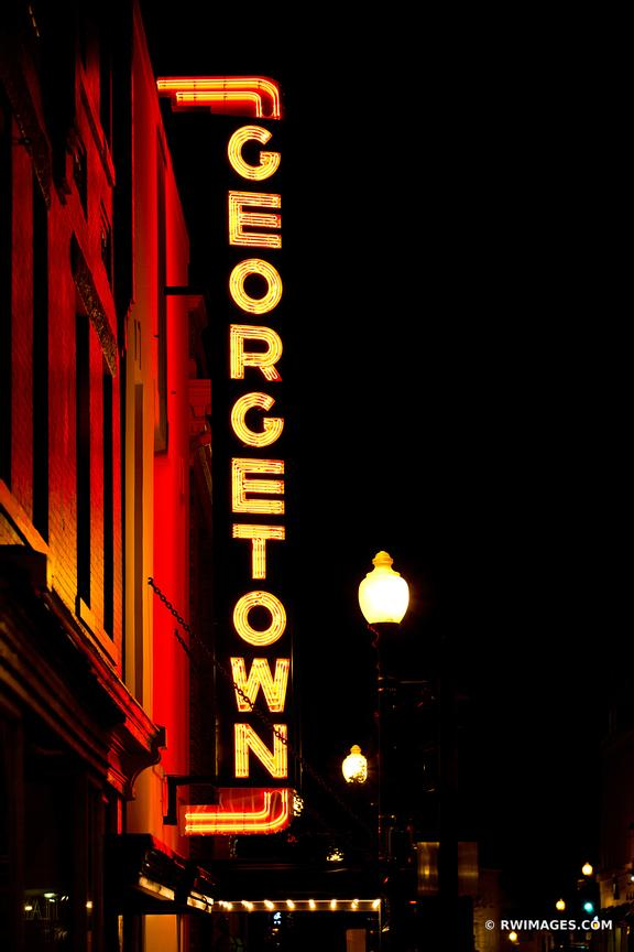 GEORGETOWN NEON SIGN GEORGETOWN EVENING WASHINGTON DC GEORGETOWN BY NIGHT VERTICAL
