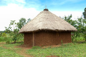 Traditional Kenyan home made out of sun dried bricks with a thatched roof. Kenya.