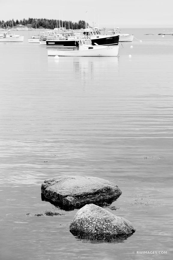LOBSTER BOATS COREA HARBOR SCHOODIC PENINSULA MAINE BLACK AND WHITE