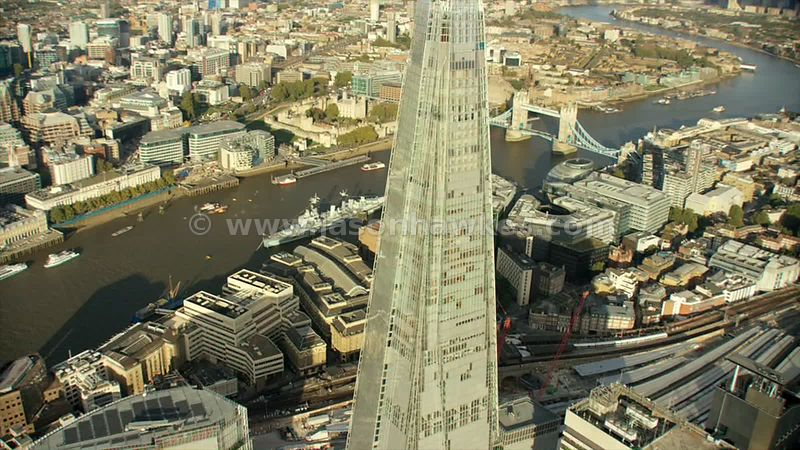 Aerial footage of the biggest building in London, The Shard