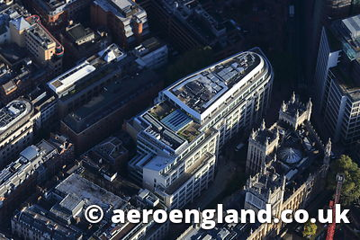 aerial photograph of the Rolls Building , home of the Intellectual Property Enterprise Court on Fetter Lane London UK ( Where you are going if you copy this photo ! )