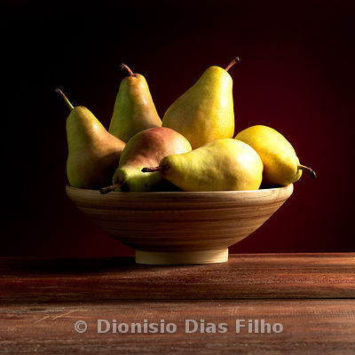 Pears in a Wooden Pot