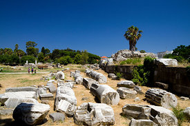 Ancient remains of the excavated Agora, Kos Town, Kos Island, Dodecanese Islands, Greece.