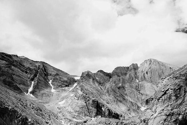 LONGS PEAK DIAMOND FACE FROM CHASM LAKE TRAIL ROCKY MOUNTAIN NATIONAL PARK COLORADO BLACK AND WHITE