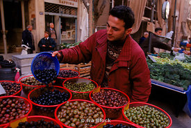 market stall selling olives