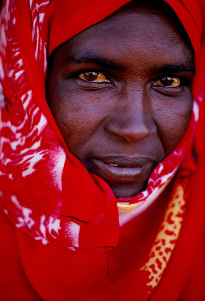 woman with red scarf