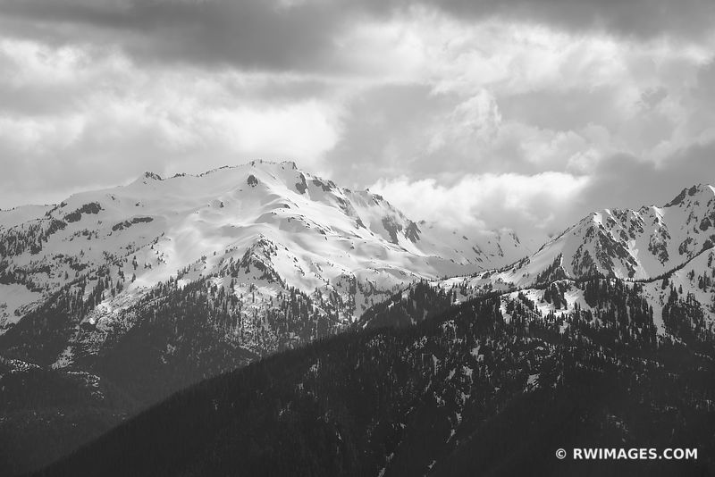 OLYMPIC MOUNTAINS HURRICANE RIDGE OLYMPIC NATIONAL PARK WASHINGTON BLACK AND WHITE