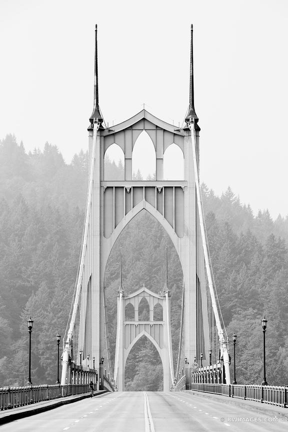 ST. JOHNS BRIDGE PORTLAND OREGON BLACK AND WHITE VERTICAL