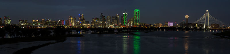 Dallas Skyline Panorama From the Sylvan Bridge
