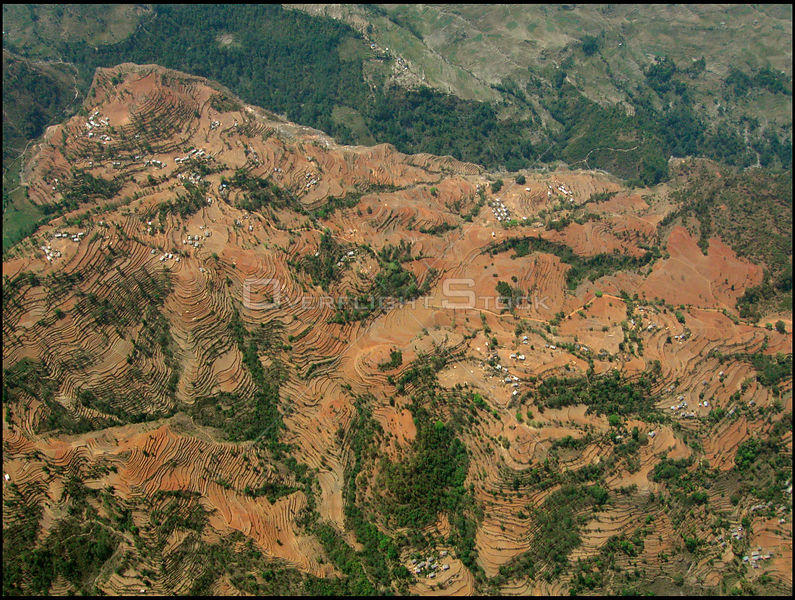 NEPAL Nr Jiri -- 16 Apr 2005 -- Aerial photo of terraced farmland near Jiri. Scientists have warned that rising temperatures from global warming