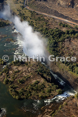 Victoria Falls (Mosi-oa-Tunya) from the air from the NW with Cataract Island in the foreground, Zambia and Zimbabwe