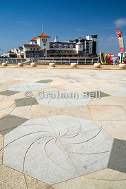 Knightstone Centre and modern paving, Weston-Super-Mare, Somerset, England.