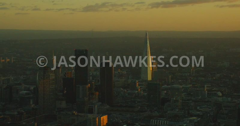 Aerial footage of the City of London at sunset