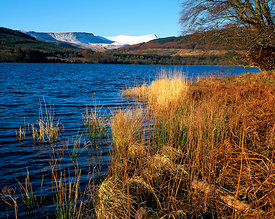 Pentwyn Reservoir and the Brecon Beacons, Brecon Beacons National Park, Powys, Wales, UK.