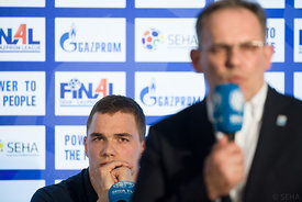 Vid Poteko and Sinisa Ostojic at the opening press conference  during the Final Tournament - Final Four - SEHA - Gazprom league, Skopje, 12.04.2018, Mandatory Credit ©SEHA/ Sasa Pahic Szabo