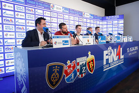 Stojance Stoilov,Raul Gonzales,Sergey Bebeshko at the opening press conference during the Final Tournament - Final Four - SEHA - Gazprom league, Skopje, 12.04.2018, Mandatory Credit ©SEHA/ Uros Hocevar
