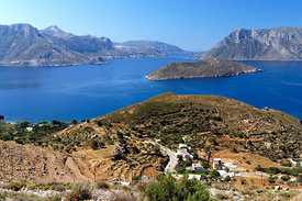 View of coastline of Kalymnos from the Mountains above Emborios, Kalymnos or Kalimnos, Dodecanese Islands, Greece.