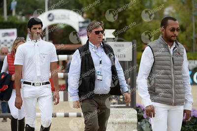 Bassem Hassan MOHAMMED ,(QAT), Jan TOPS, Hamad Ali Mohamed AL ATTIYAH ,(QAT) during Queen's Cup - Segura Viudas Trophy competition at CSIO5* Barcelona at Real Club de Polo, Barcelona - Spain