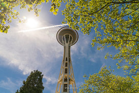A view of the Space Needle at Seattle Center in Seattle.