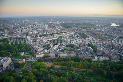 Aerial view of Belgravia at dusk, London