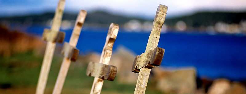 Wooden crosses near the ocean