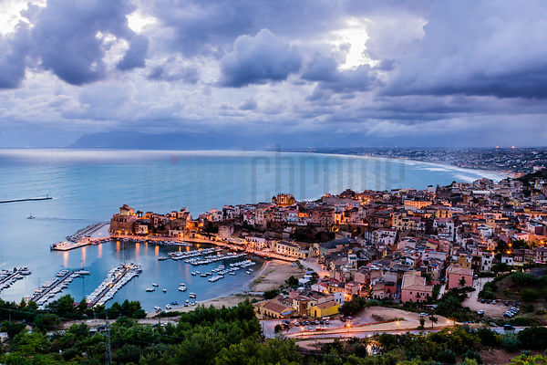 Elevated View of Castellammare del Golfo at Dawn.