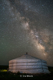 The Milky Way rises over a Mongolian Ger in South Gobi Desert, Mongolia.