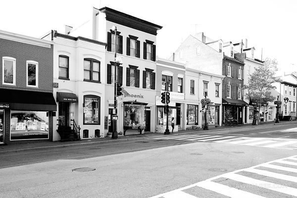 GEORGETOWN STREET WASHINGTON DC BLACK AND WHITE