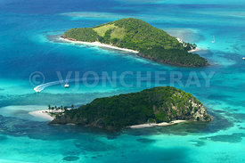 voyage, caraibes, iles grenadines, tobago cays, photo aerienne, ile, lagon