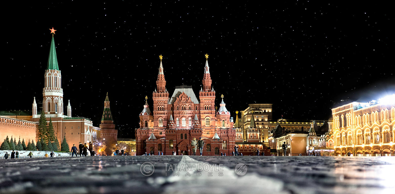 State Historical Museum on Red Square with Nikolskaya and Arsenalnaya Towers and the State Department Store (GUM); Moscow, Russian Federation
