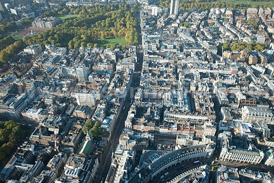 Aerial view over Piccadilly and Green Park London