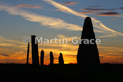 Ring of Brodgar neolithic stone circle at sunset, West Mainland, Orkney, United Kingdom