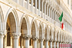 Detail of the facade of Doge's palace, Venice, Italy