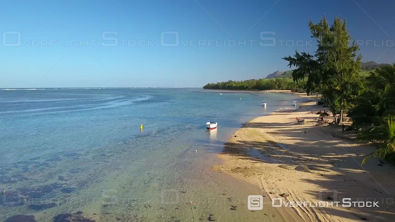 Sandy beach and clear Lagoon in BelOmbre, Mauritius