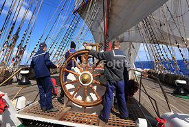 Helming of the four masted barque Sedov