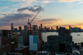 Sunset in Lower Manhattan in Tribeca looking west over the Hudson River.