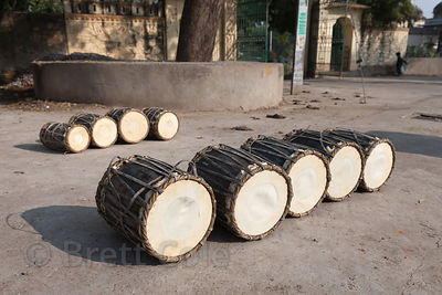 Drums drying outside a drum makers shop in Udaipur, Rajasthan, India