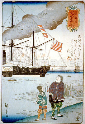 Western ship in Japanese harbor
