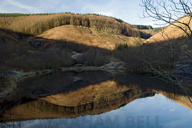 lake and reflection clydach vale country park cwm clydach, tonypandy, rhondda valley, south wales, uk.