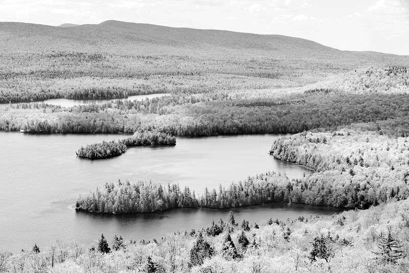 BLUE MOUNTAIN LAKE FROM CASTLE ROCK ADIRONDACK MOUNTAINS BLACK AND WHITE
