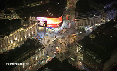 Piccadilly Circus  London  night aerial photograph