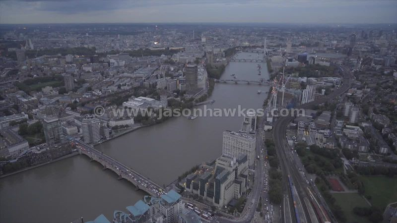Aerial footage of Vauxhall, looking across the River Thames to Westminster