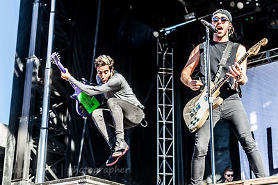 Alex Gaskarth, vocals and guitar, and Jack Barakat, guitar, All Time Low