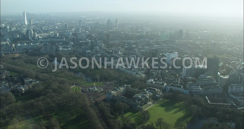 London Aerial footage, Buckingham Palace with Green Park and Buckingham Palace Gardens.