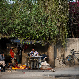 "Kishori Lal, a tailor and his family under an Ashoka tree in New Friends Colony, New Delhi. ""I came from Rajasthan 22 yeas ago... I asked the mali to plant it there and got the sapling for him"""