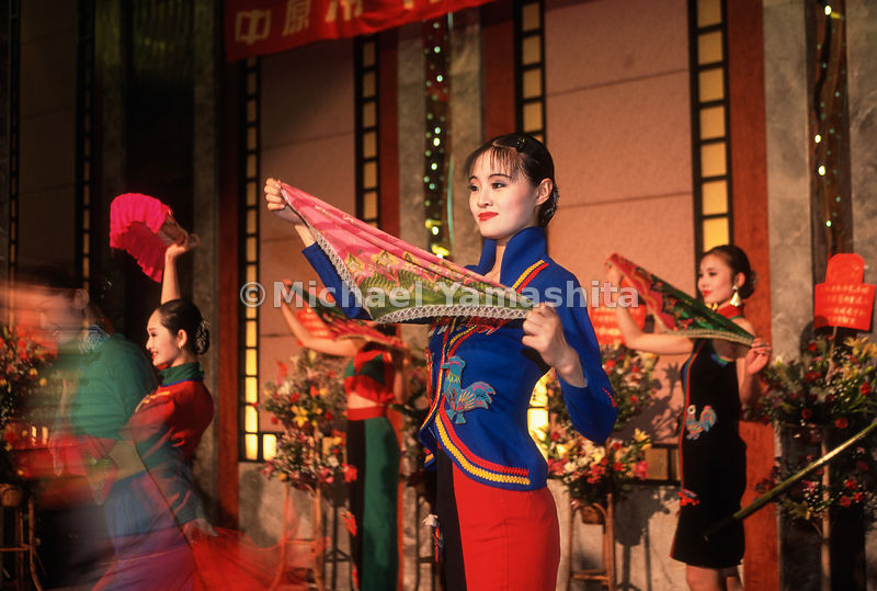 Fashion model troop entertain at Xhong Yuan Air Conditioner Co. Party celebrating year of good sales..Guangzhou, China