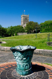 Sculpture and ruins of St Peters Church, Castle Park, Bristol. england