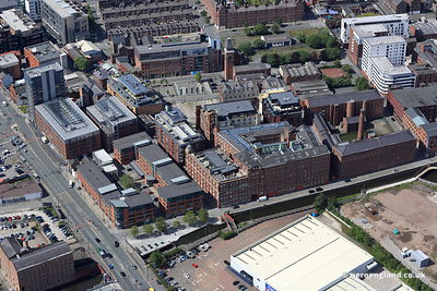 aerial photograph of Royal Mills development Ancoats  Manchester  England UK.