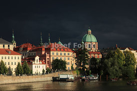 Aleš Embankment with the Monastery of the Knights of the Cross with a Red Star, Prague, Czech Republic