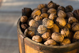 close up of vintage bucket filled with freshly harvested Spanish walnuts against a moody dark background